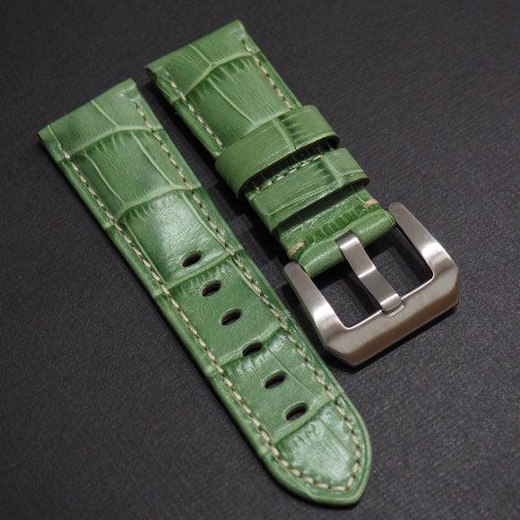 Panerai Style Emerald Green Alligator-Embossed Calf Leather Watch Strap (Girl Size) - Strapholic_錶帶工房, Rolex, IWC, Panerai, AP, Cartier, Tudor, Omega, Watch_Bands