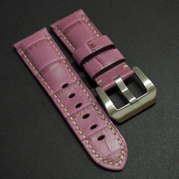 Panerai Style Lilac Violet Alligator-Embossed Calf Leather Watch Strap (Girl Size) - Strapholic_錶帶工房, Rolex, IWC, Panerai, AP, Cartier, Tudor, Omega, Watch_Bands
