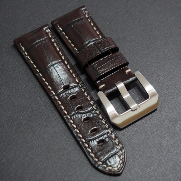 Panerai Style Dark Brown Alligator-Embossed Calf Leather Watch Strap (Girl Size) - Strapholic_錶帶工房, Rolex, IWC, Panerai, AP, Cartier, Tudor, Omega, Watch_Bands