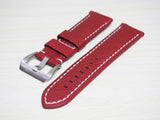 Red Calf Leather Watch Strap w/ Buckle For Panerai - Strapholic_錶帶工房, Rolex, IWC, Panerai, AP, Cartier, Tudor, Omega, Watch_Bands
