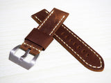 24mm Brown / Red Calf Leather w/ White Stitching Watch Strap w/ Buckle For Panerai - Strapholic_錶帶工房, Rolex, IWC, Panerai, AP, Cartier, Tudor, Omega, Watch_Bands