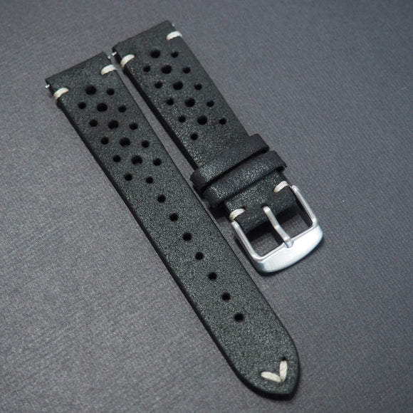 Black Rally Style Italian Calf Leather Watch Strap - Strapholic_錶帶工房, Rolex, IWC, Panerai, AP, Cartier, Tudor, Omega, Watch_Bands