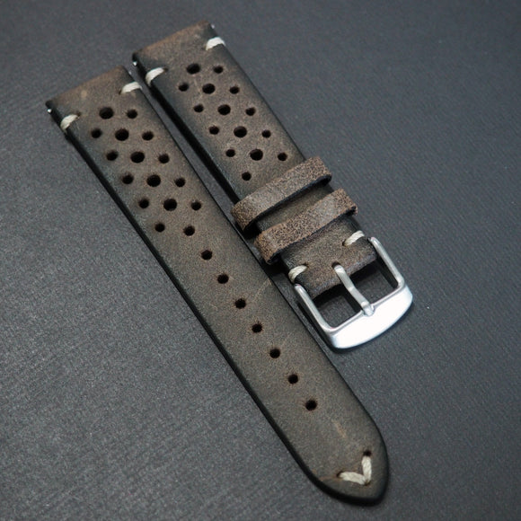 Wood Brown Rally Style Italian Calf Leather Watch Strap - Strapholic_錶帶工房, Rolex, IWC, Panerai, AP, Cartier, Tudor, Omega, Watch_Bands