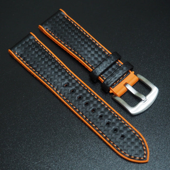 Performance Style Orange Rubber Carbon Fiber Watch Strap w/ Buckle - Strapholic_錶帶工房, Rolex, IWC, Panerai, AP, Cartier, Tudor, Omega, Watch_Bands