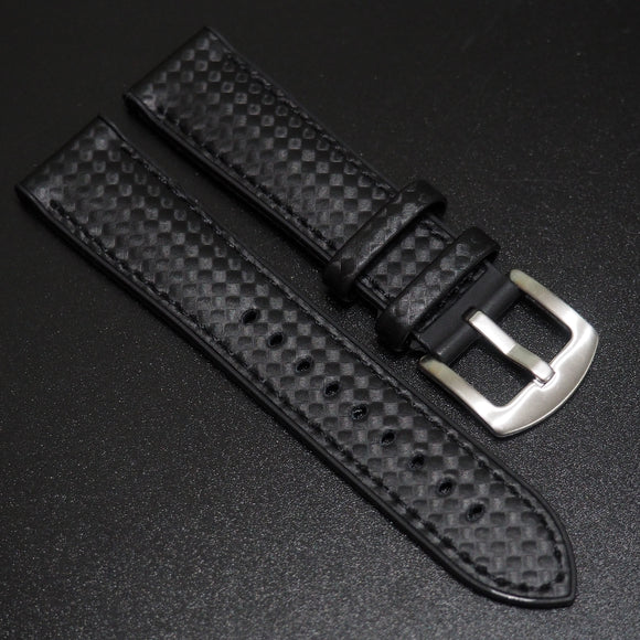 Performance Style Black Rubber Carbon Fiber Watch Strap w/ Buckle - Strapholic_錶帶工房, Rolex, IWC, Panerai, AP, Cartier, Tudor, Omega, Watch_Bands