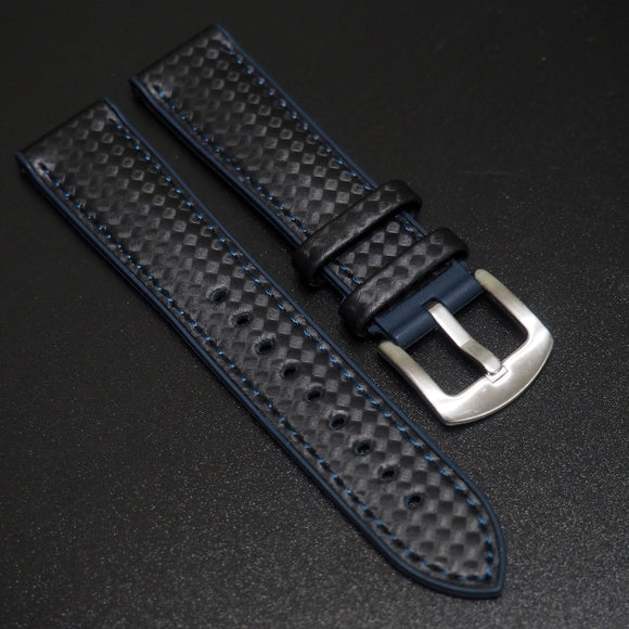 Performance Style Deep Blue Rubber Carbon Fiber Watch Strap w/ Buckle - Strapholic_錶帶工房, Rolex, IWC, Panerai, AP, Cartier, Tudor, Omega, Watch_Bands