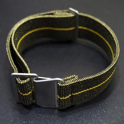 Olive Green / Yellow Nato Style Elastic Webbing Nylon Watch Strap - Strapholic_錶帶工房, Rolex, IWC, Panerai, AP, Cartier, Tudor, Omega, Watch_Bands