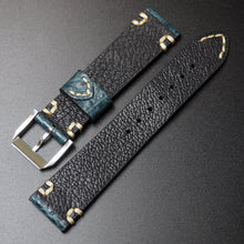 Ocean Blue Vintage Style Alligator Leather Watch Strap With Buckle - Strapholic_錶帶工房, Rolex, IWC, Panerai, AP, Cartier, Tudor, Omega, Watch_Bands