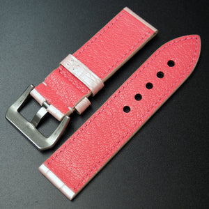 Vintage Style Pink Alligator Leather Handmade Watch Strap w/ Buckle For Panerai - Strapholic_錶帶工房, Rolex, IWC, Panerai, AP, Cartier, Tudor, Omega, Watch_Bands