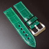 Vintage Style Green Alligator Leather Handmade Watch Strap w/ Buckle For Panerai