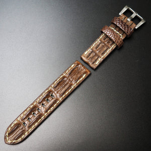 Vintage Brown Alligator Hornback Leather Handmade Watch Strap w/ Buckle For Panerai - Strapholic_錶帶工房, Rolex, IWC, Panerai, AP, Cartier, Tudor, Omega, Watch_Bands