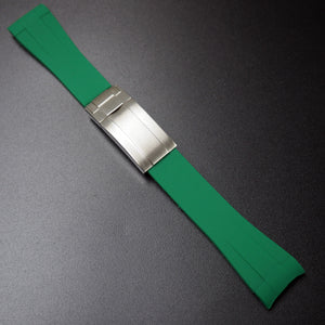 20mm Green Rubber Watch Strap With Curved Ends & Clasp For Rolex - Strapholic_錶帶工房, Rolex, IWC, Panerai, AP, Cartier, Tudor, Omega, Watch_Bands
