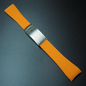 20mm Orange Rubber Watch Strap With Curved Ends & Clasp For Rolex - Strapholic_錶帶工房, Rolex, IWC, Panerai, AP, Cartier, Tudor, Omega, Watch_Bands