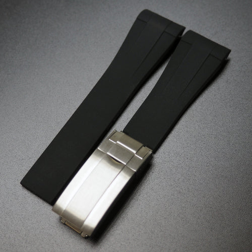 20mm Black Rubber Watch Strap With Curved Ends & Clasp For Rolex - Strapholic_錶帶工房, Rolex, IWC, Panerai, AP, Cartier, Tudor, Omega, Watch_Bands
