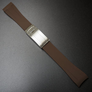 20mm Brown Rubber Watch Strap With Curved Ends & Clasp For Rolex - Strapholic_錶帶工房, Rolex, IWC, Panerai, AP, Cartier, Tudor, Omega, Watch_Bands