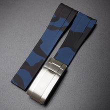 20mm Blue Camouflage Rubber Watch Strap With Curved Ends & Clasp For Rolex - Strapholic_錶帶工房, Rolex, IWC, Panerai, AP, Cartier, Tudor, Omega, Watch_Bands