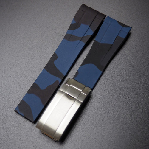 Blue Camouflage Rubber Watch Strap With Curved Ends - Strapconcept_錶帶工房, Rolex_Leather, IWC_Strap, Panerai_Strap, AP_Rubber, Cartier_Leather, Tudor_Nato, Omega_Rubber, Watch_Straps