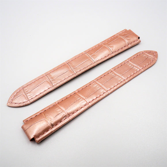 Pink Alligator-Embossed Calf Leather Watch Strap w/ Deployment Clasp For Ballon Blue de Cartier - Strapholic_錶帶工房, Rolex, IWC, Panerai, AP, Cartier, Tudor, Omega, Watch_Bands