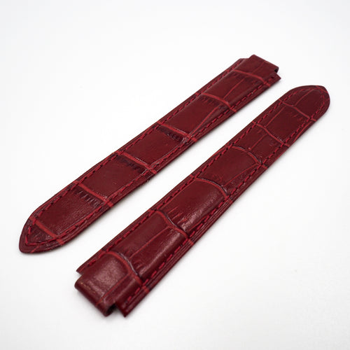 Red Alligator-Embossed Calf Leather Watch Strap w/ Deployment Clasp For Ballon Blue de Cartier - Strapholic_錶帶工房, Rolex, IWC, Panerai, AP, Cartier, Tudor, Omega, Watch_Bands