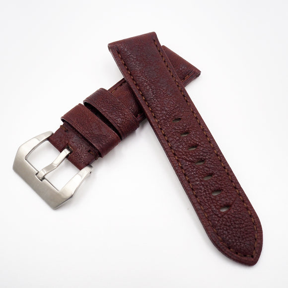 24mm Red Calf Leather Watch Strap w/ Buckle For Panerai - Strapholic_錶帶工房, Rolex, IWC, Panerai, AP, Cartier, Tudor, Omega, Watch_Bands