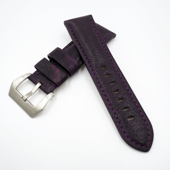 24mm Purple Calf Leather Watch Strap w/ Buckle For Panerai - Strapholic_錶帶工房, Rolex, IWC, Panerai, AP, Cartier, Tudor, Omega, Watch_Bands