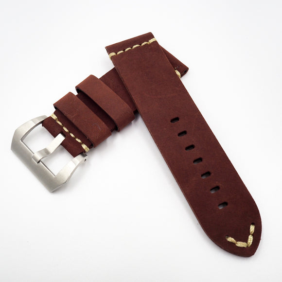 Red Vintage Style Calf Leather Watch Strap w/ Buckle For Panerai - Strapholic_錶帶工房, Rolex, IWC, Panerai, AP, Cartier, Tudor, Omega, Watch_Bands