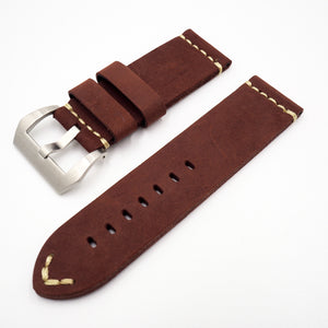 Red Vintage Style Calf Leather Watch Strap - Strapconcept_錶帶工房, Rolex_Leather, IWC_Strap, Panerai_Strap, AP_Rubber, Cartier_Leather, Tudor_Nato, Omega_Rubber, Watch_Straps