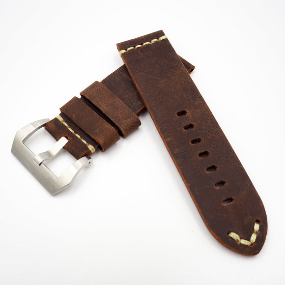 Dark Orange Vintage Style Calf Leather Watch Strap w/ Buckle For Panerai - Strapholic_錶帶工房, Rolex, IWC, Panerai, AP, Cartier, Tudor, Omega, Watch_Bands