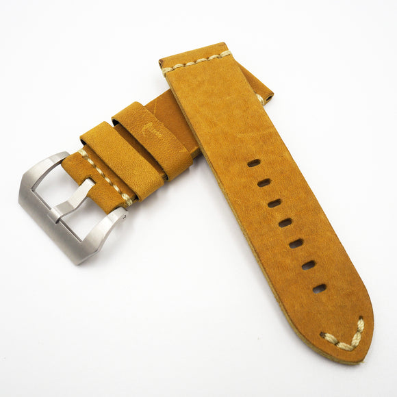 Yellow Vintage Style Calf Leather Watch Strap w/ Buckle For Panerai - Strapholic