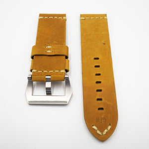 Yellow Vintage Style Calf Leather Watch Strap w/ Buckle For Panerai - Strapholic_錶帶工房, Rolex, IWC, Panerai, AP, Cartier, Tudor, Omega, Watch_Bands