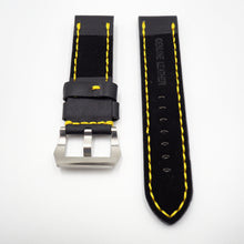 24mm Black Calf Leather w/ Yellow Stitching Watch Strap w/ Buckle For Panerai - Strapholic_錶帶工房, Rolex, IWC, Panerai, AP, Cartier, Tudor, Omega, Watch_Bands