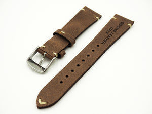 Vintage Style Nostalgic Brown Italian Calf Leather Watch Strap w/ Buckle - Strapholic_錶帶工房, Rolex, IWC, Panerai, AP, Cartier, Tudor, Omega, Watch_Bands