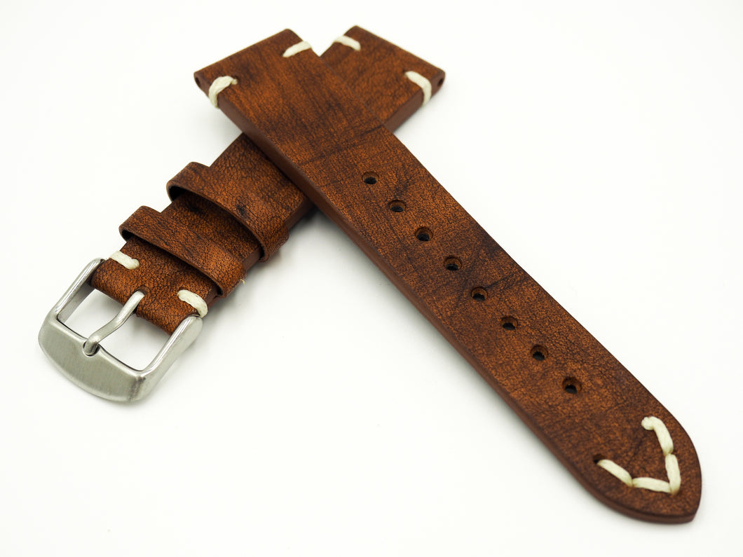 Vintage Style Italian Brown / Orange Calf Leather Watch Strap w/ Buckle - Strapholic_錶帶工房, Rolex, IWC, Panerai, AP, Cartier, Tudor, Omega, Watch_Bands