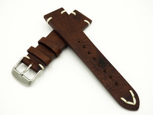 Vintage Style Italian Brown / Red Calf Leather Watch Strap w/ Buckle - Strapholic_錶帶工房, Rolex, IWC, Panerai, AP, Cartier, Tudor, Omega, Watch_Bands