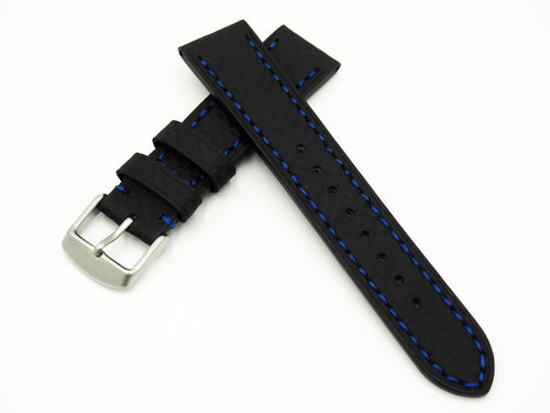 Black with Blue Stitching Carbon Fiber Watch Strap w/ Buckle - Strapconcept_錶帶工房, Rolex_Leather, IWC_Strap, Panerai_Strap, AP_Rubber, Cartier_Leather, Tudor_Nato, Omega_Rubber, Watch_Straps