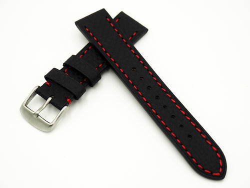Black with Red Stitching Carbon Fiber Watch Strap w/ Buckle - Strapconcept_錶帶工房, Rolex_Leather, IWC_Strap, Panerai_Strap, AP_Rubber, Cartier_Leather, Tudor_Nato, Omega_Rubber, Watch_Straps