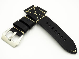 Vintage Style Black Italian Calf Leather Handmade Watch Strap w/ Buckle - Strapholic_錶帶工房, Rolex, IWC, Panerai, AP, Cartier, Tudor, Omega, Watch_Bands