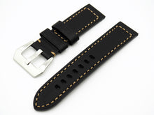 Vintage Style Black Calf Leather Handmade Watch Strap w/ Buckle - Strapholic_錶帶工房, Rolex, IWC, Panerai, AP, Cartier, Tudor, Omega, Watch_Bands
