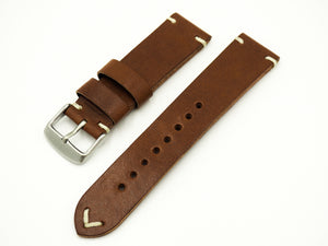 Vintage Style Brown Italian Calf Leather Handmade Watch Strap w/ Buckle - Strapholic_錶帶工房, Rolex, IWC, Panerai, AP, Cartier, Tudor, Omega, Watch_Bands