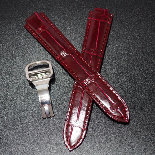 Premium Barn Red Alligator Leather Watch Strap w/ Deployment Clasp For Ballon Blue de Cartier - Strapholic_錶帶工房, Rolex, IWC, Panerai, AP, Cartier, Tudor, Omega, Watch_Bands