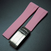 Pink Rubber Watch Strap With Curved Ends & Clasp For Rolex - Strapholic_錶帶工房, Rolex, IWC, Panerai, AP, Cartier, Tudor, Omega, Watch_Bands