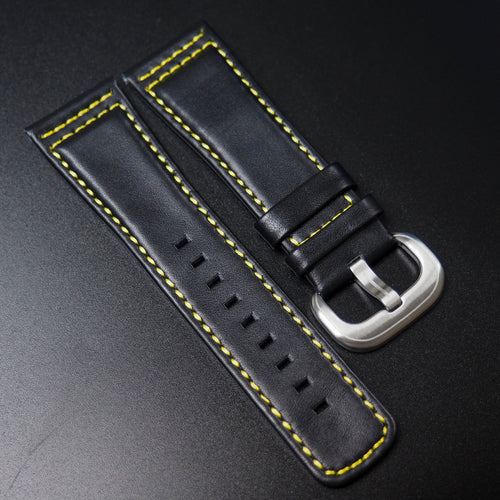 SevenFriday Style Black Calf Leather / Yellow Stitching Watch Strap - Strapholic_錶帶工房, Rolex, IWC, Panerai, AP, Cartier, Tudor, Omega, Watch_Bands