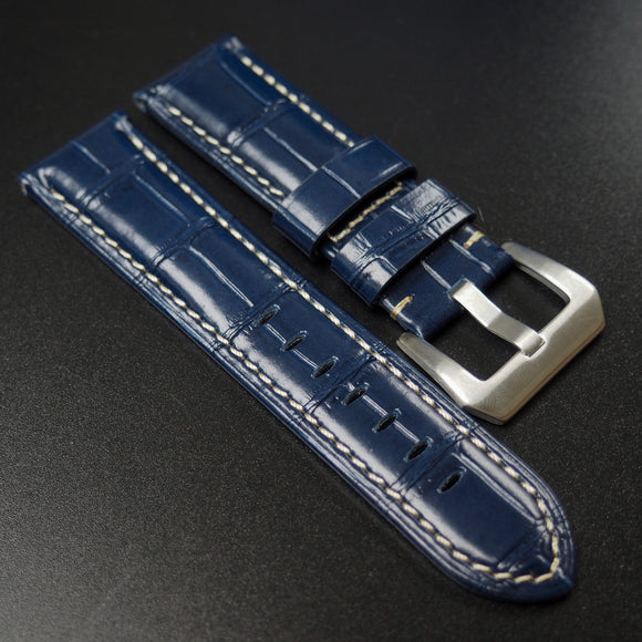 Panerai Style Blue Alligator-Embossed Calf Leather Watch Strap - Strapholic_錶帶工房, Rolex, IWC, Panerai, AP, Cartier, Tudor, Omega, Watch_Bands