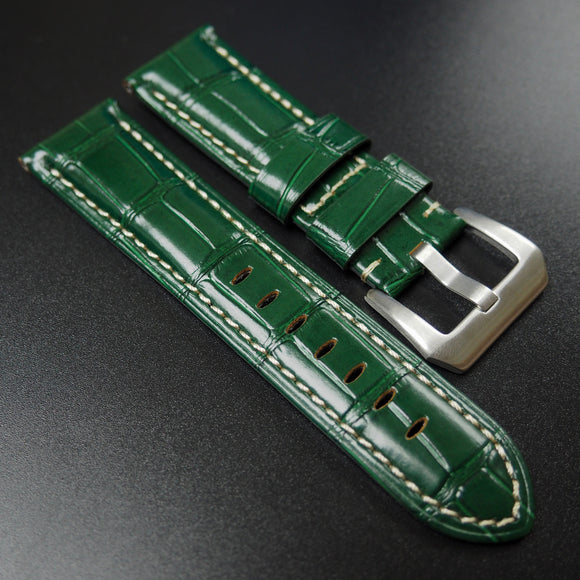 Panerai Style Green Alligator-Embossed Calf Leather Watch Strap - Strapholic_錶帶工房, Rolex, IWC, Panerai, AP, Cartier, Tudor, Omega, Watch_Bands
