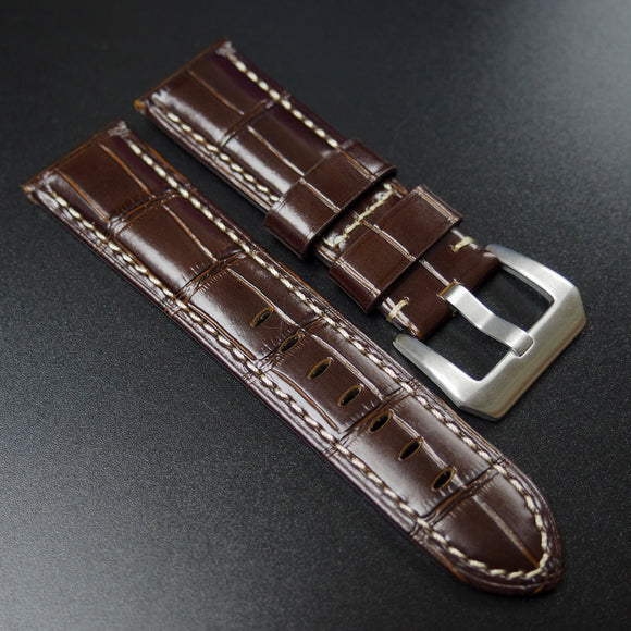 Panerai Style Brown Alligator-Embossed Calf Leather Watch Strap - Strapholic_錶帶工房, Rolex, IWC, Panerai, AP, Cartier, Tudor, Omega, Watch_Bands