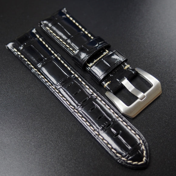 Panerai Style Black Alligator-Embossed Calf Leather Watch Strap - Strapholic_錶帶工房, Rolex, IWC, Panerai, AP, Cartier, Tudor, Omega, Watch_Bands