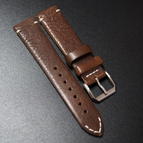 Vintage Style Brown Goat Leather Watch Strap - Strapholic_錶帶工房, Rolex, IWC, Panerai, AP, Cartier, Tudor, Omega, Watch_Bands