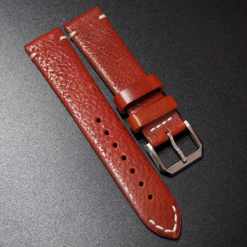 Vintage Style Red Goat Leather Watch Strap - Strapholic_錶帶工房, Rolex, IWC, Panerai, AP, Cartier, Tudor, Omega, Watch_Bands