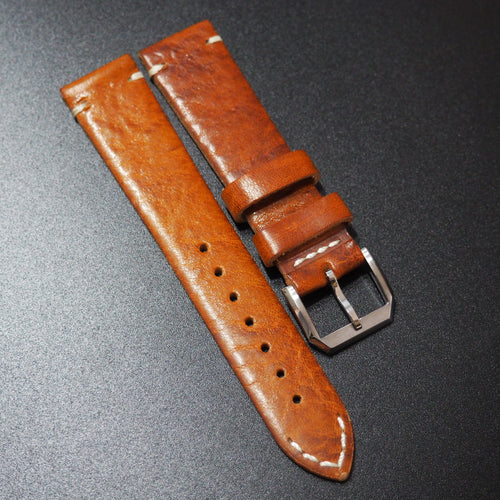Vintage Style Orange Goat Leather Watch Strap - Strapholic_錶帶工房, Rolex, IWC, Panerai, AP, Cartier, Tudor, Omega, Watch_Bands