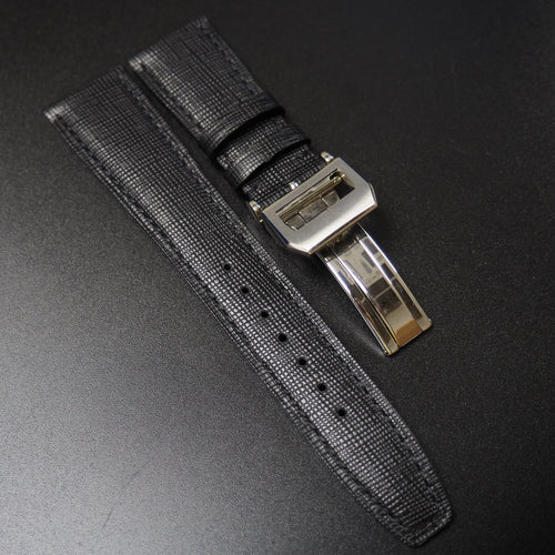 IWC Style Black Calf Leather Watch Strap w/ Deployment Clasp - Strapholic_錶帶工房, Rolex, IWC, Panerai, AP, Cartier, Tudor, Omega, Watch_Bands